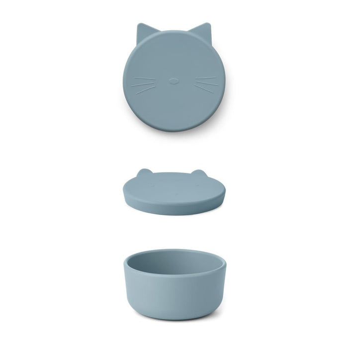 Liewood Cornelius Silicone Snack Box - Cat Sea Blue