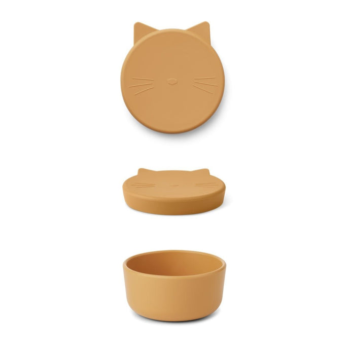 Liewood Cornelius Silicone Snack Box - Cat Yellow Mellow
