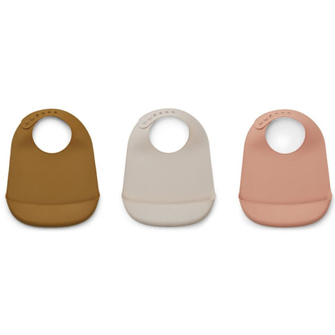 Liewood Maru Silicone Bibs - 3 Pack - Dark Rose Mix