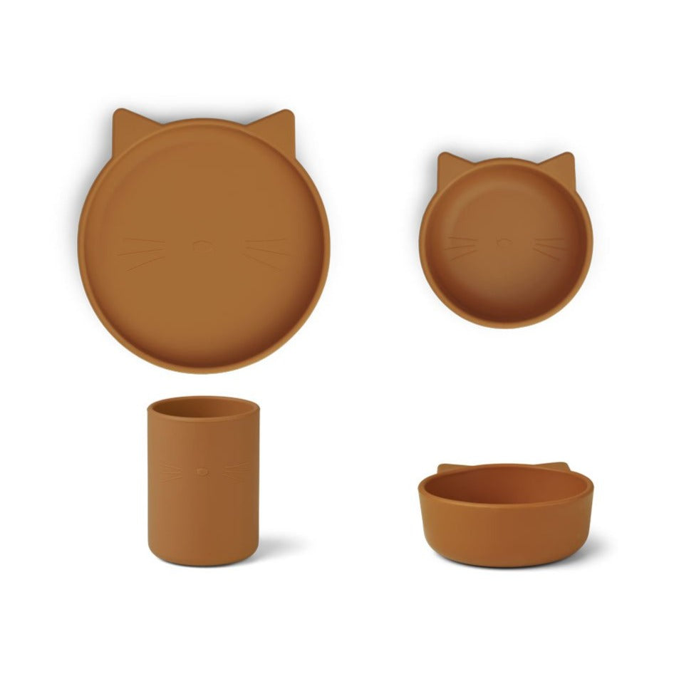 Liewood Cyrus Silicone Tableware Set - Cat Mustard