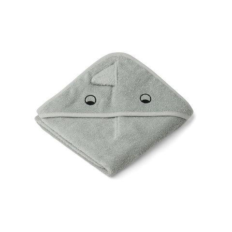 Liewood Organic Albert Hooded Baby Towel - Dino Dove Blue Mix