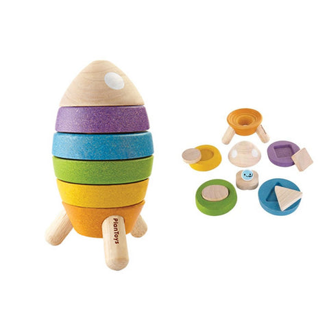 Plan Toys Wooden Stacking Rocket | Wooden Toys