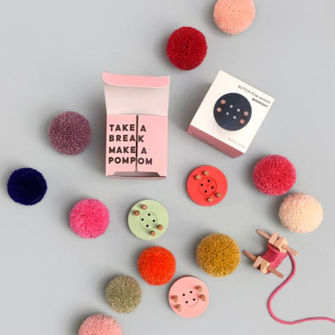 Wooden Midnight Blue Button Extra Small Pom Pom Maker By Pom Maker