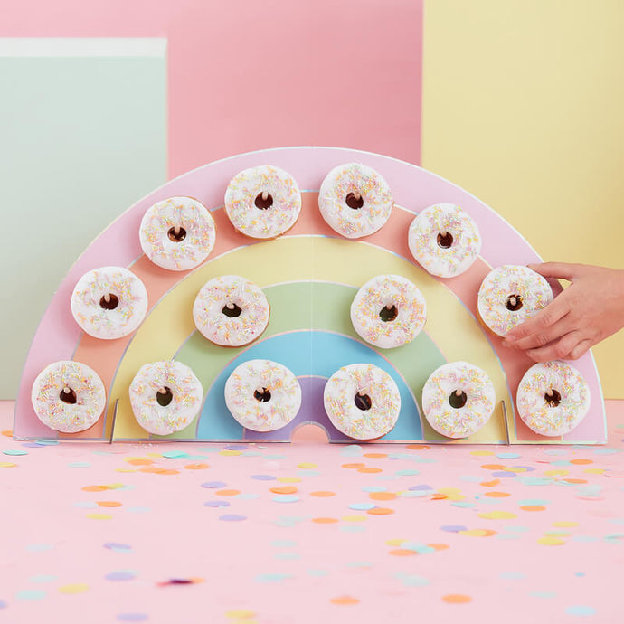 Pastel Rainbow Donut Wall Holder By Ginger Ray