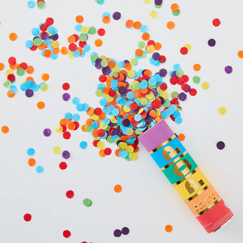 Rainbow Biodegradable Confetti Cannon Shooter By Ginger Ray