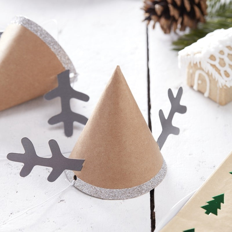 Mini Reindeer Party Hats - 6 Pack By Ginger Ray