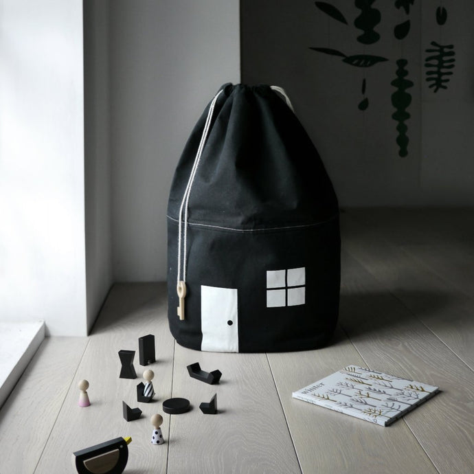Organic Monochrome Large Storage Bag by Rock & Pebble | Soren's House