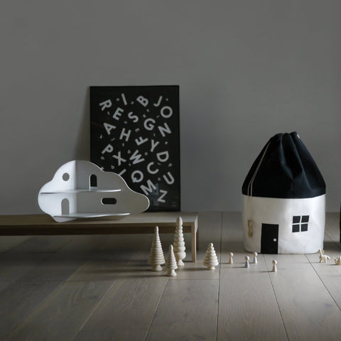 House No. 1 - Organic Black & White Large Storage Bag by Rock & Pebble