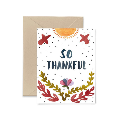 So Thankful Greeting Card by Little Truths Studio