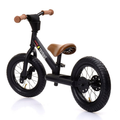 Trybike - Steel Balance Bike - Matt Black/Tan