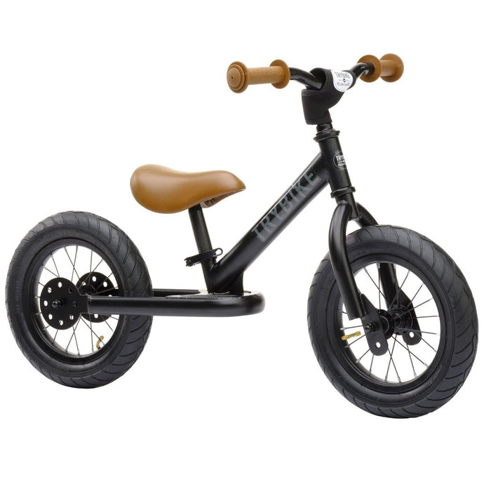 Trybike - Steel Balance Bike - Matt Black & Tan