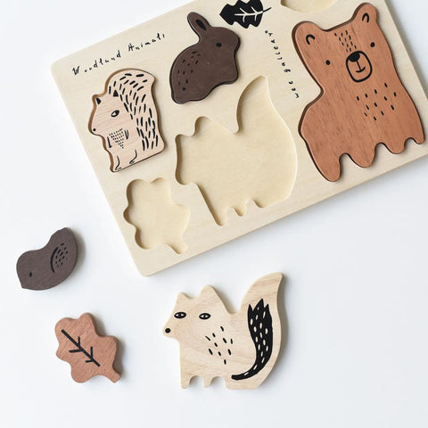 Wee Gallery Wooden Tray Puzzle - Woodland Animals