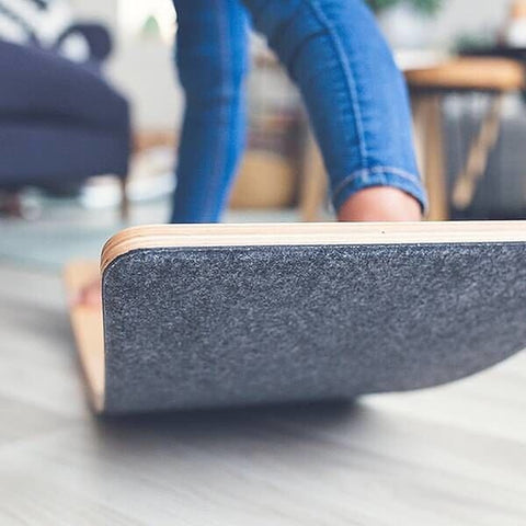 Wobbel Board - Transparent Lacquered Balance Board - Mouse Grey Felt