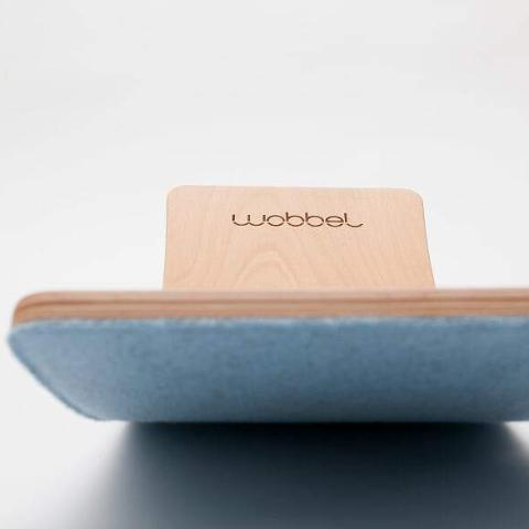 Wobbel Starter Board - Transparent Lacquered Wood Balance Board With Sky Blue Felt