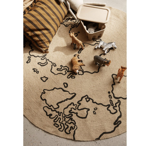 Ferm Living Jute Rug - World Map