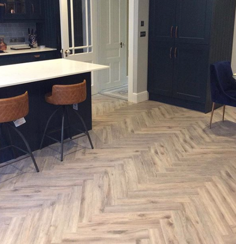 Volcanic Oak Herringbone supplied and fitted by SL Interiors