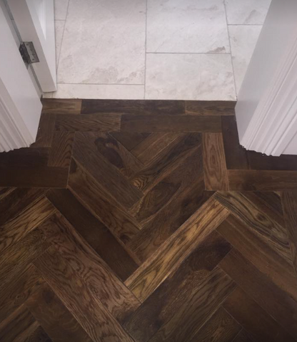 Double Smoked Oak, Parquet Engineered Herringbone Pattern