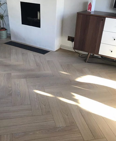 Light Oak Laminate Herringbone Parquet Flooring - SL Interiors