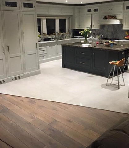 Grey Polished Lapado Finish Porcelain with Smoked Oak Flooring - SL Interiors