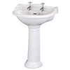 Adare 600mm Basin One/ Two Tap-Hole Sink & Adare Pedestal