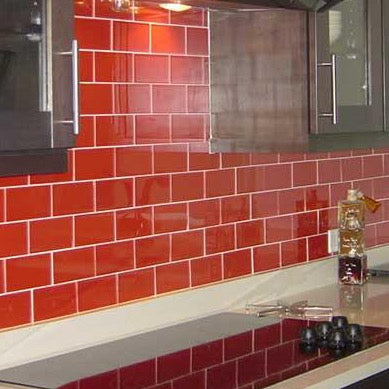 Red Subway Splashback Tiles