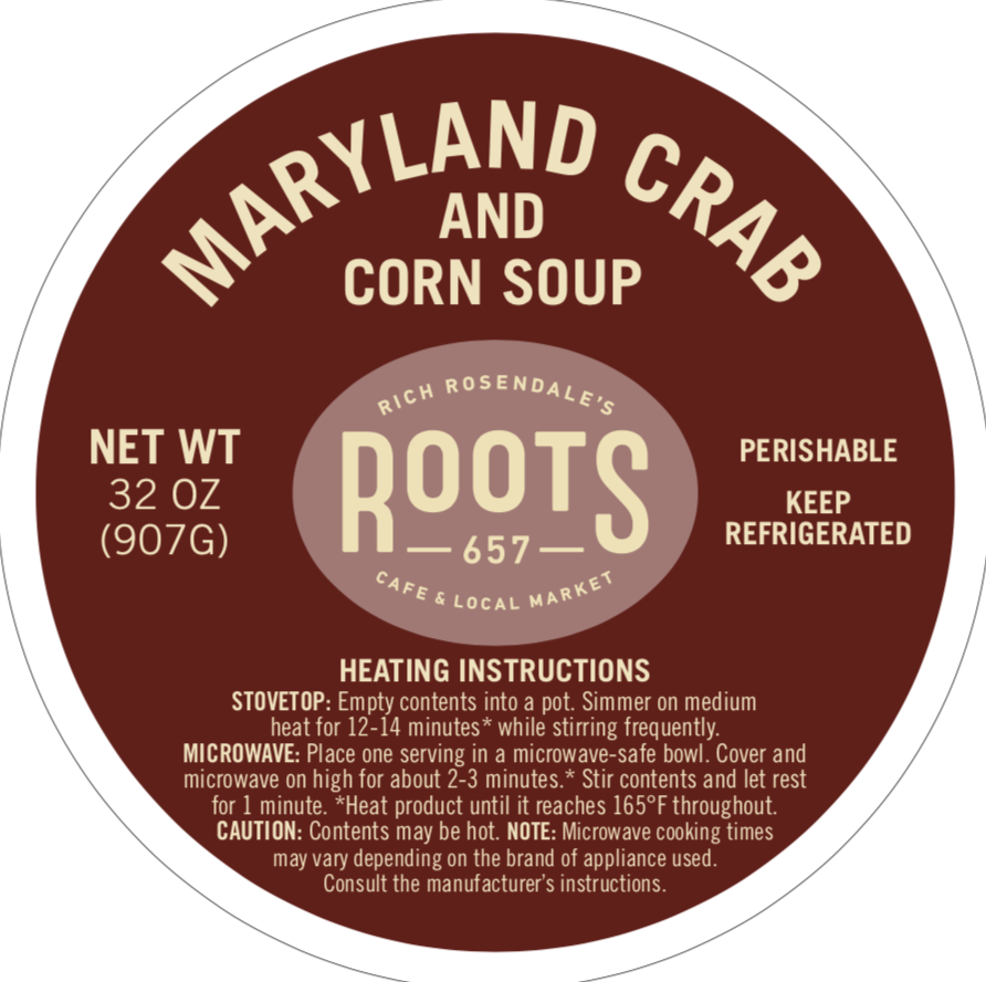 Maryland Crab & Corn Soup -Quart (Cold)