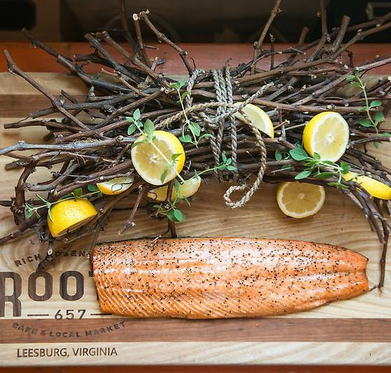 Warm Peppered Salmon Smoked with Local  Grape Vine
