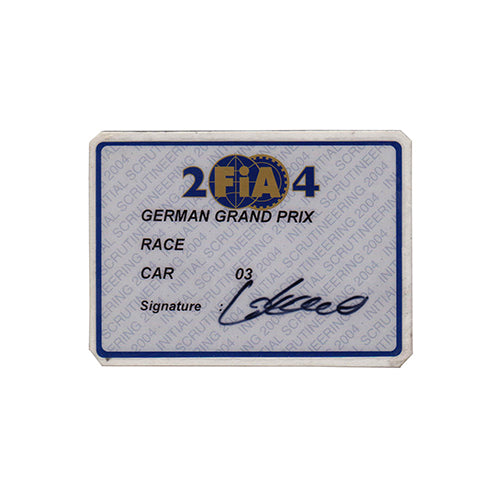 2004 Williams FW26 Scrutineering Passes