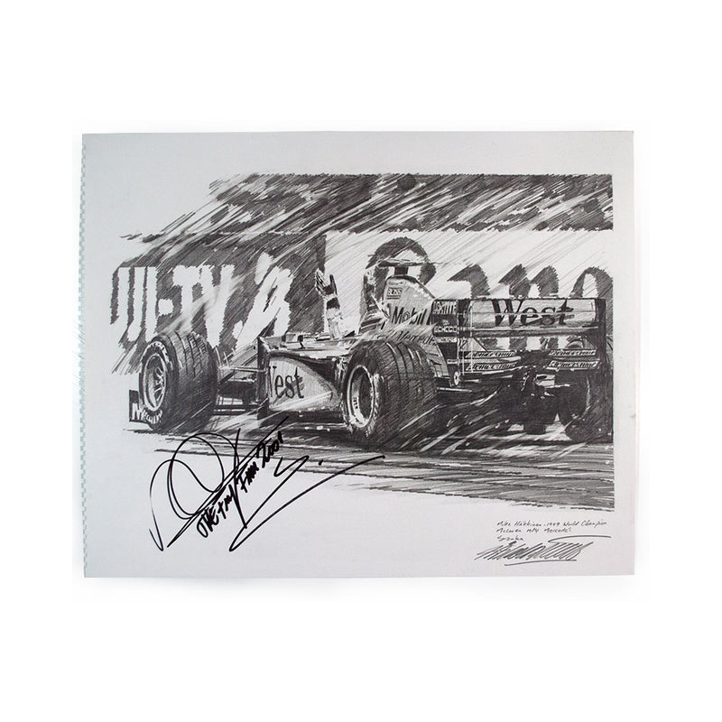 Nicholas Watts - Hakkinen Champion Suzuka Signed Original Pencil Sketch