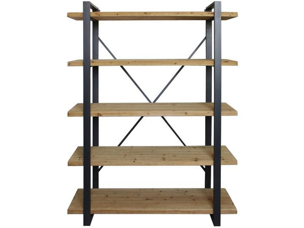 Kempsey Fir Wood And Iron Five Tier Shelving Unit