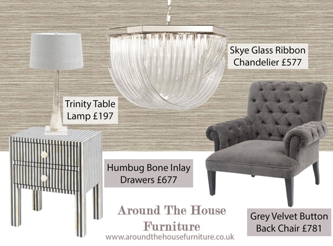 bone inlay drawers, glass chandelier, grey velvet armchair, chunky silver base table lamp
