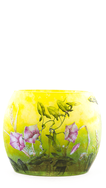 Authentic Daum Multi-layered & Enamel Sweet Peas Pillow Vase