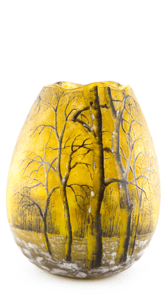 Genuine Daum Winter Scene Egg Shape