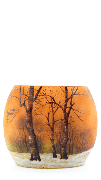 Original Daum Winter Scene Pillow Vase