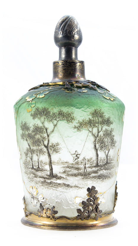 Authentic Daum Lady On Swing Landscape Perfume Bottle