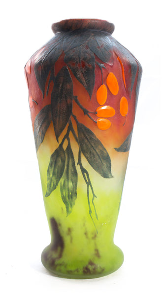 Authentic Daum Vase With Applied Berries