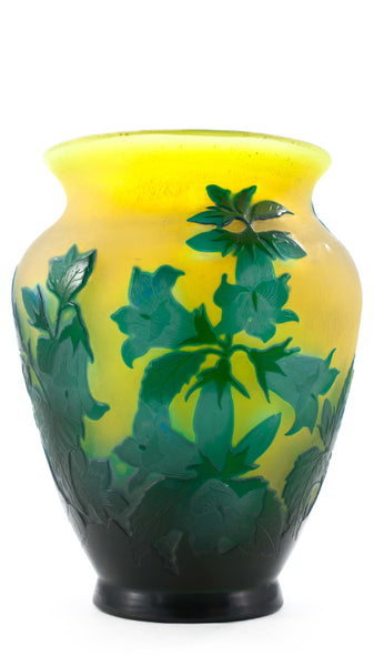 Authentic Galle Vase Turquoise Flowers On Yellow