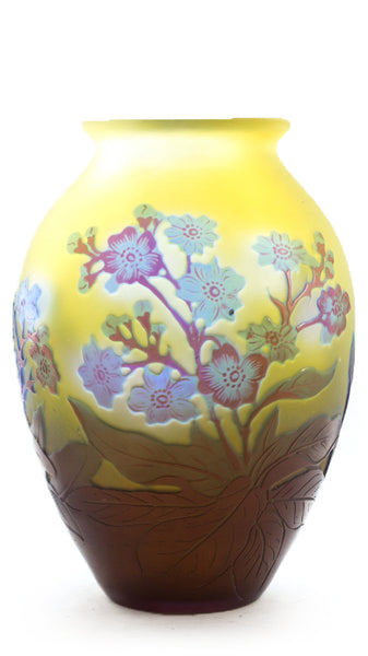 Authentic Urn Shaped Galle Vase With Red And Blue Flowers On Bright Yellow