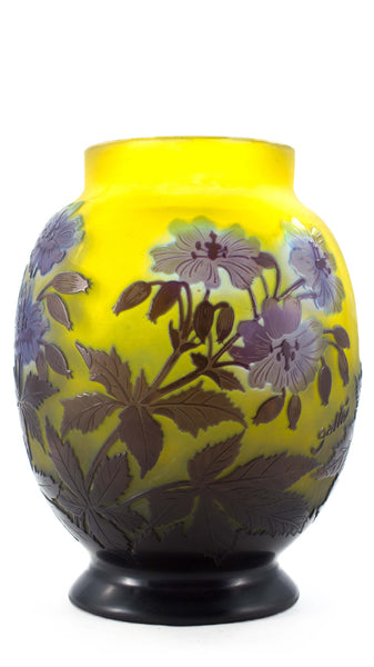 Authentic Galle Oval Shape Vase With Blue Flowers And Hazel Leaves On Yellow