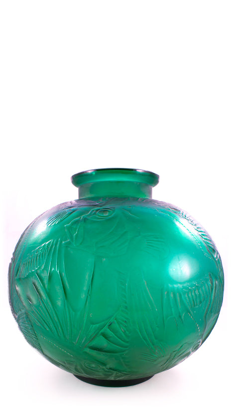 Authentic Lalique Poissons Green Fish Vase