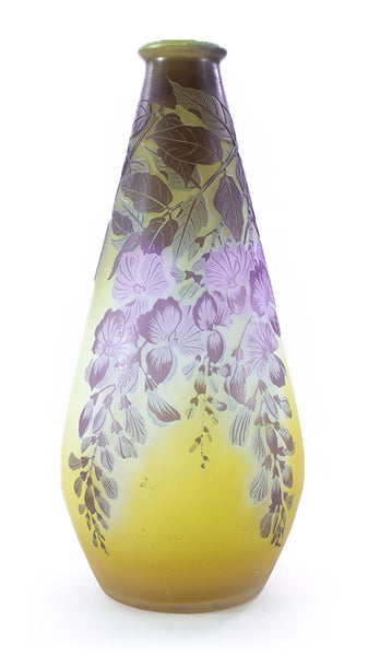 Authentic Galle Vase With Bright Two Tone Hanging Flowers