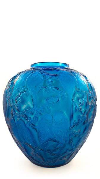 Real Lalique Blue Perruches Vase