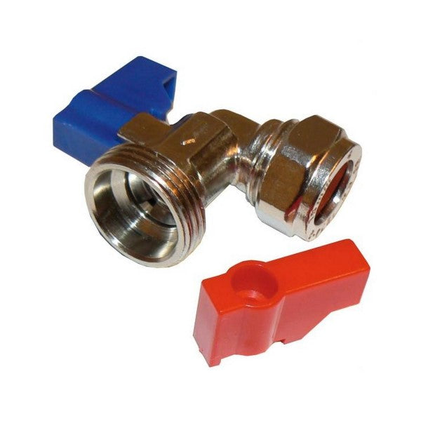 15mm CP Angled Washing Machine Valve Red/Blue - 048.113.004