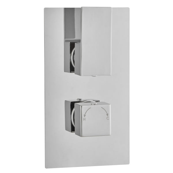 Long Square Concealed Thermostatic 2 Handle 1 Way Shower Valve - ABS0023
