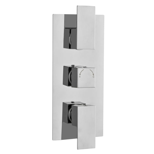 Long Square Concealed Thermostatic 3 Handle 2 Way Shower Valve - ABS0029