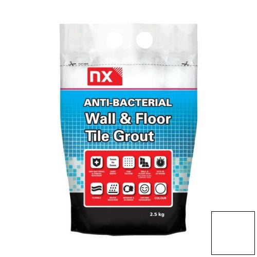 NX Anti-Bacterial Wall & Floor Tile Grout - Arctic White 2.5kg - NX02KGGTNMAWM06