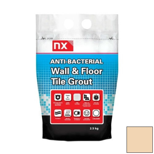 NX Anti-Bacterial Wall & Floor Tile Grout - Blanched Almond 2.5kg - NX02KGGTNMBAM06