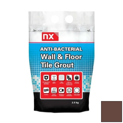 NX Anti-Bacterial Wall & Floor Tile Grout - Coffee Bean 2.5kg - NX02KGGTNMCBM06