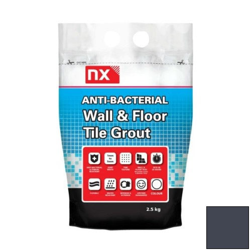 NX Anti-Bacterial Wall & Floor Tile Grout - Midnight Coal 2.5kg - NX02KGGTNMMCM06