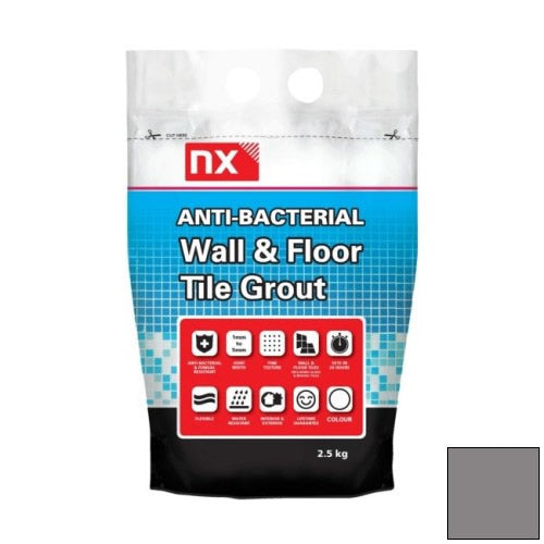 NX Anti-Bacterial Wall & Floor Tile Grout - Slate Grey 2.5kg - NX02KGGTNMSLM06